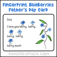 "Father's Day Craft for Kids - ""I Love You Berry Much"" Card Craft from www.daniellesplace.com  It smells like real blueberries!"