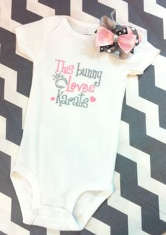 Girls Easter Onesie or T Shirt Set - Embdroidered Bodysuit with Bow - This Bunny Loves Karats - Baby Shower Gift - Girls Boutique Clothing. $29.00, via Etsy.