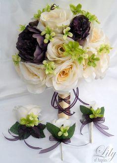 "17pcs Wedding Bridal Bouquet Set Decoration Package Silk Flowers IVORY PLUM EGGPLANT ""Lily Of Angeles"". $199.99, via Etsy."