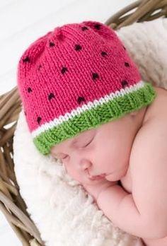 Watermelon Hat - Knitting Patterns by Nona Davenport