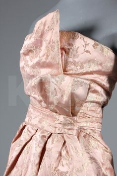 Dior Gown - detail - 1950's - by Christian Dior, London - Pink and silver brocaded satin - Kerry Taylor Auctions - @~ Mlle