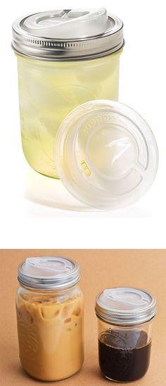 Mason Jar Lid - BPA-free plastic lid that turns your mason jar into a travel mug | http://fab.hardpin.com/tracker/c.php?m=HardPin&u=type56&url=http://fab.com/product/the-original-cuppow-lid-2pk-220043/?pref[]=designer%7Ccuppow&ref=designer&pos=0&fref=hardpin_type56&frefl=Pinterest_Hardpin&ltb=on&cid=658
