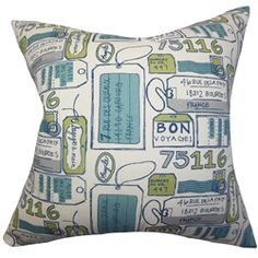 This chic throw pillow features a text detail which highlight various addresses in France. Printed against a white background the typography pattern comes in shades of blue, gray and green. Toss this accent pillow anywhere inside your home for a fun and inviting vibe. This square pillow is crafted with 100% soft cotton fabric. $55.00  #pillows #typographypillow #decorpillow