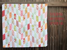 Kitchen Table Quilting: striped chevrons quilt top (and tutorial). Reverse the cutting angle to create a herringbone pattern?