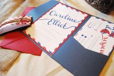 Red White Blue Wedding Invitation
