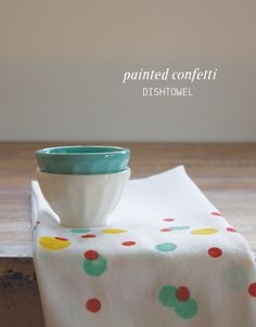 Painted confetti dish towels