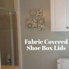 Cheap Wall Art: Fabric Covered Shoe Box Lids :: Hometalk