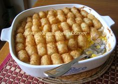 Cheesy Tater Tot Casserole-Tater tot casserole is so versatile.  You can add different meats and veggies, too.  Men love this dish and it is comfort food at its best.
