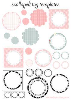 free printable scalloped tag templates - Muschelrand Etiketten - freebie