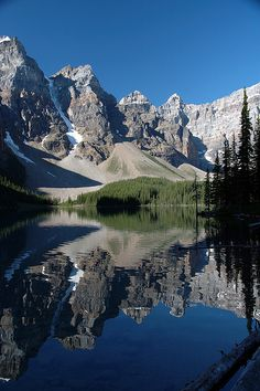 Reflections at Moraine Lake in Banff National Park, Alberta, Canada - My favourite Canadian national park!