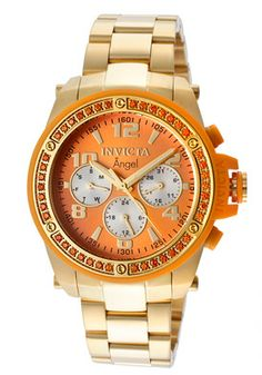 Invicta Women's Angel Orange Dial 18K Gold Plated Stainless Steel