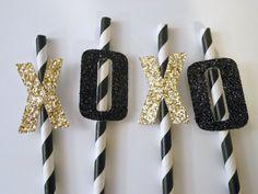 Bachelorette party decorations, bridal shower decorations, bachelorette party ideas - Hugs and Kisses XOXO straws on Etsy, $16.00