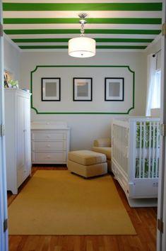 Green & white Kate Spade inspired nursery room.