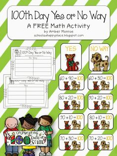 Free Math Center; Adding Multiples of 10; 100th Day of School Theme