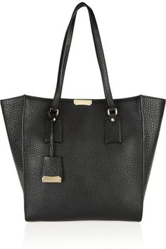 Textured-leather trapeze tote