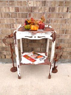 Vintage End  Side Table  Nightstand  Prairie by TimelessNchic, $79.95 #table #vintage #antique #chippy #white #cottage #shabby #wood