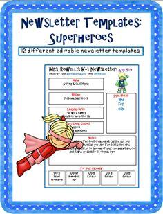 Editable newsletter template - Superhero themed.