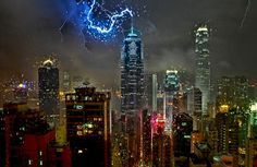 A lightning bolt strikes the antenna of The Center building in Central Hong Kong during a storm on September 13, 2009.