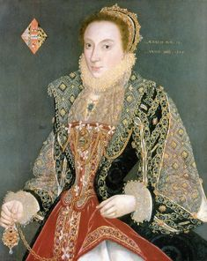 George Gower portrait of Mary Denton, (1558-1574), 1573. Nee Martyn or Martin,  daughter of Sir Roger Martin of Long Melford, Suffolk, a mercer and Lord Mayor of London in 1567, and his second wife, Elizabeth Castlyn or Castelin (d.1583). was painted at the age of fifteen, to commemorate her wedding to Alexander Denton of Hillesden, Buckinghamshire (1542-1576) on June 8, 1573 at St. Antonin, Budge Row, London.