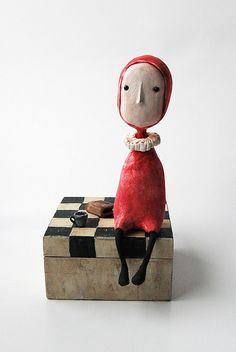 art doll  Clementine,  The secret keeper.  by Ruta Elze