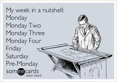 Funny ecard - My week in a nutshell