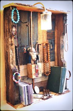 Reclaimed Wood Jewelry Organizer Display made from upcycled pallet wood with electric light