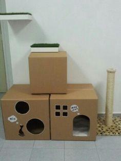 Как сделать домик для кошки из коробки своими руками фото