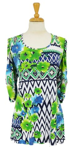 Green Floral Shape Tunic~ Best selection of Tunics & matching accessories ~ Flat postage worldwide ~ Petite to Plus sizes ~ www.ilovetunics.com