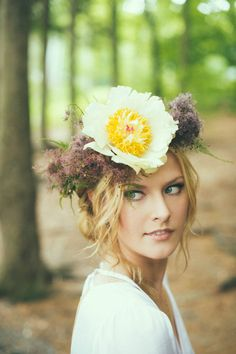 oversized floral crown, photo by Off Beet Productions http://ruffledblog.com/bohemian-nouveau-styled-wedding #floralcrown #weddinghair