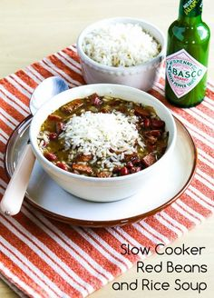 Slow Cooker Red Beans and Rice Soup; this delicious soup uses chicken Andouille sausage so it's lower in fat but still delicious!   [from Kalyn's Kitchen] #SlowCooker #SouthBeachDiet #GlutenFree