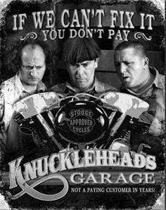 knucklehead garag, funni, tins, garages, stoog knucklehead, metal signs, tin sign, three stoog, tin metal