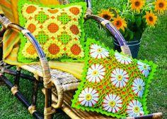Cojines Crochet Girasoles y Margaritas Patron - Patrones Crochet
