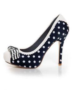 navy polka dots shoes
