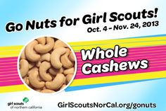 Whole Cashews with Sea Salt - Girl Scouts NorCal's Fall Nut & Magazine Sale is Oct. 4-Nov. 24, 2013! Help girls raise funds for fall activities and service projects! http://www.girlscoutsnorcal.org/gonuts