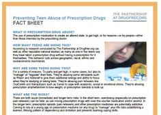 Fact Sheet: Preventing Teen Abuse of Prescription Drugs. How many teens are abusing prescription drugs -and why? And what can parents do to prevent this risky behavior? Find answers to these questions and more in this fact sheet. http://www.drugfree.org/wp-content/uploads/2010/10/Preventing-Teen-Abuse-of-Prescription-Drugs-Fact-Sheet-2draft-Cephalon-sponsored.pdf