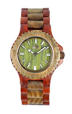 wooden watch - green face
