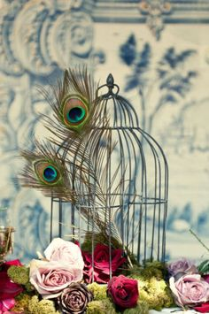 peacock birdcage centerpiece - in lanterns?