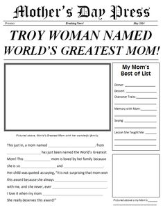 Customizable Mother's Day newspaper printable