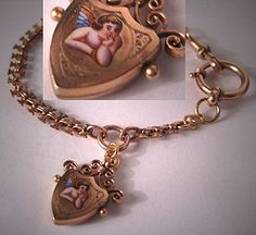Antique Victorian Bracelet Enamel Angel Charm Fob Gold