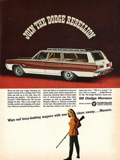 1966 Dodge Monaco Station Wagon.  Who doesn't like a woman holding a big gun?