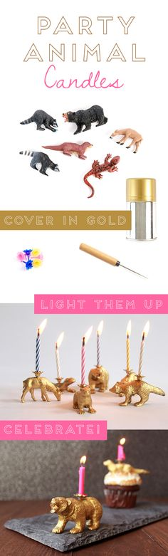 DIY Party Animal Candles Kit birthday, anim candl, party animals, candles, anim diy, vintage animal party, parti anim, kid, diy parti