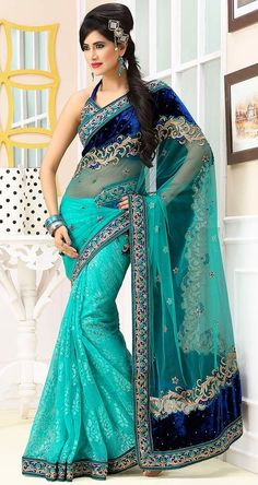 Indian #Turquoise #Stone Work Saree