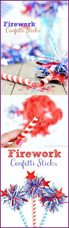 How to make Firework Confetti Sticks - A Pumpkin And A Princess!!! Bebe'!!! Cute idea!!!