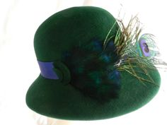 Green felt hat with feathers by Raymond Hudd Chicago