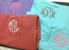 Long Sleeve Monogrammed Comfort Color Pocket Tee by YoureSewPretty, $21.00