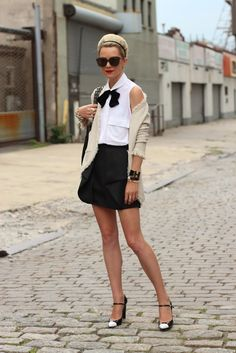 Black/White and CHIC all over. skirt, shoes, atlantic pacific, preppy style, fashion, bow ties, outfit, black white, bows