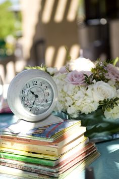 """It's Almost Time"" - Great #babyshower theme and love the use of antique clocks as decor!"
