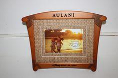 NEW! Aulani Logo Wood Picture Frame Aloha Hawaii Brown Disney