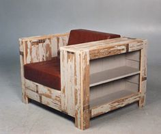 reclaimed timber chair with bookshelf