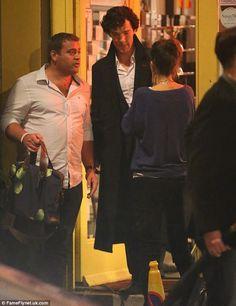 Benedict Cumberbatch and Martin Freeman filming 'Sherlock'